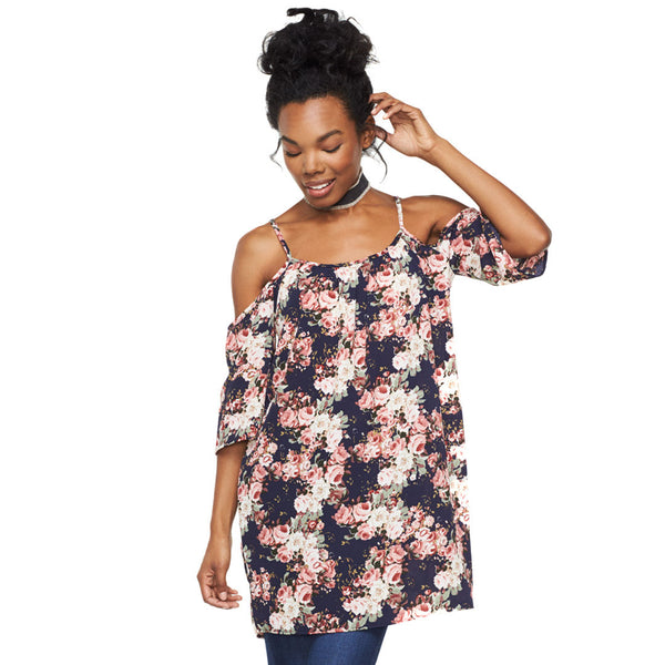 Blooming Into Spring Off-The-Shoulder Trapeze Tunic - Citi Trends Ladies - Front