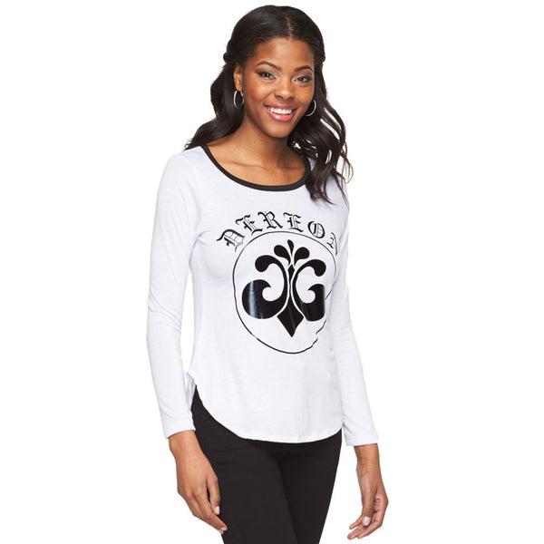 Deréon White/Metallic Black Graphic Raglan - Cititrends Ladies - Front