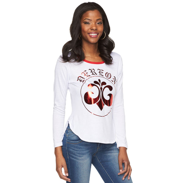 Deréon White/Metallic Red Graphic Raglan - Cititrends Ladies - Front