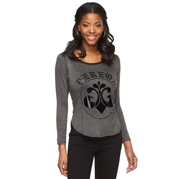 Deréon Charcoal/Metallic Black Graphic Raglan - Cititrends Ladies - Front