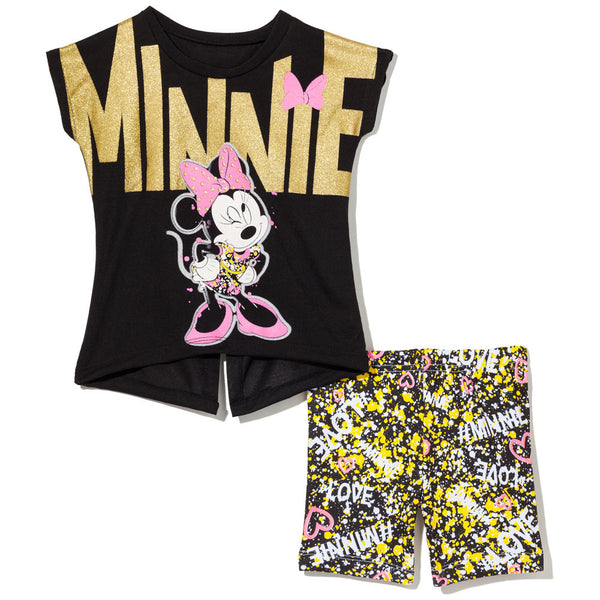 Mad For Minnie Girls 2-Piece Paint Splatter Bike Short Set - Citi Trends Girls - Front
