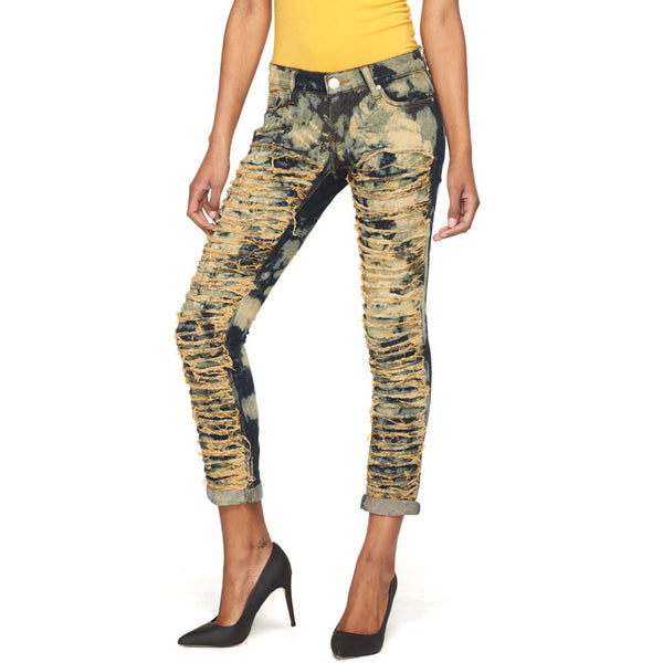 Let It Rip Bleached Distressed Skinny Jean - Citi Trends Ladies and Plus - Front