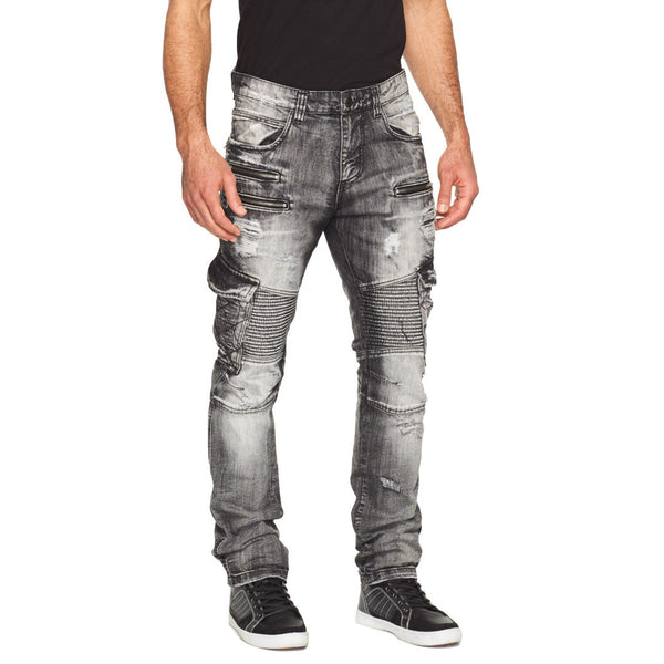 Detailed Edge Black Wash Cargo Moto Jean - Citi Trends Mens - Front