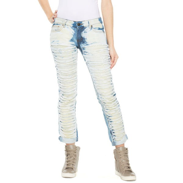 Torn Up Light Bleach Wash Skinny Jean With Cuffed Hem - Citi Trends Ladies and Plus - Front