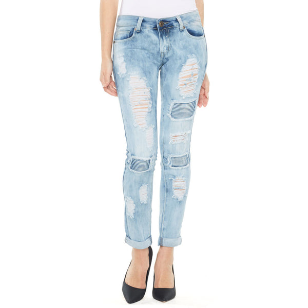 Moto On The Mind Light Blue Distressed Skinny Jean With Cuffed Hem - Citi Trends Ladies and Plus - Front
