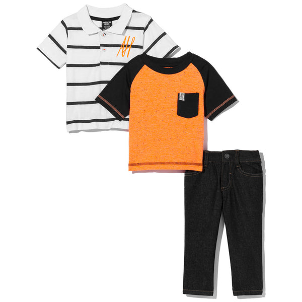 Orange In Favor Boys 3-Piece Denim Pant Set - Citi Trends Boys - Tee Front
