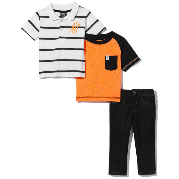 Orange In Favor Boys 3-Piece Denim Pant Set - Citi Trends Boys - Front