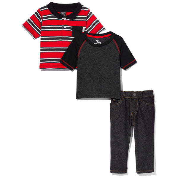 Earn Your Stripes Boys 3-Piece Denim Pant Set - Citi Trends Boys - Tee Front