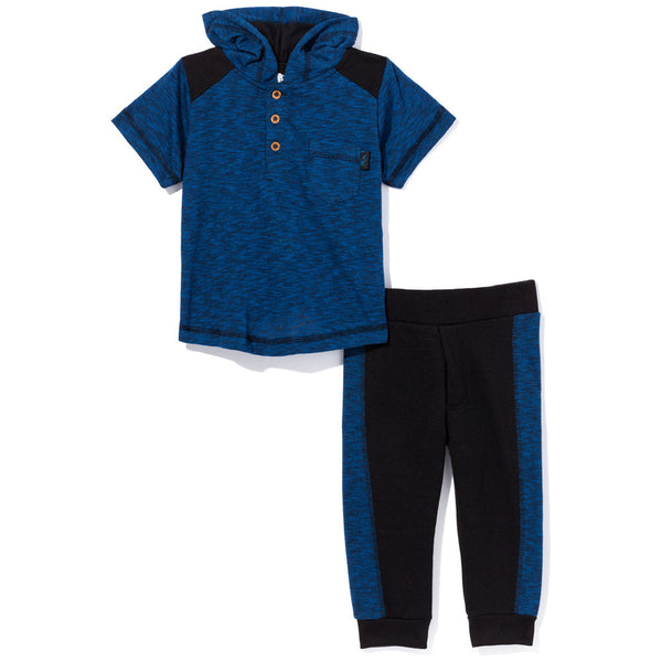 Don't Sweat It Boys 2-Piece Black/Royal Blue Jogger Set - Citi Trends Boys - Front