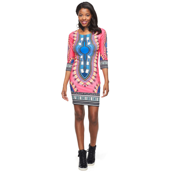 Freshly Fierce Three-Quarter Sleeve Dashiki Bodycon - Citi Trends Ladies - Front