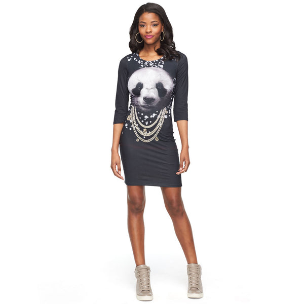 Bling It On Three-Quarter Sleeve Panda Graphic Bodycon Dress - Citi Trends Ladies - Front