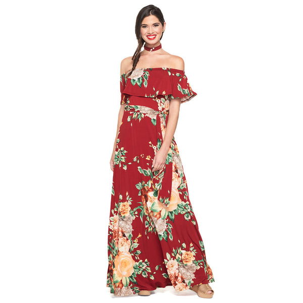Longer Lengths Burgundy Floral Off-The-Shoulder Maxi Dress - Citi Trends Ladies - Front