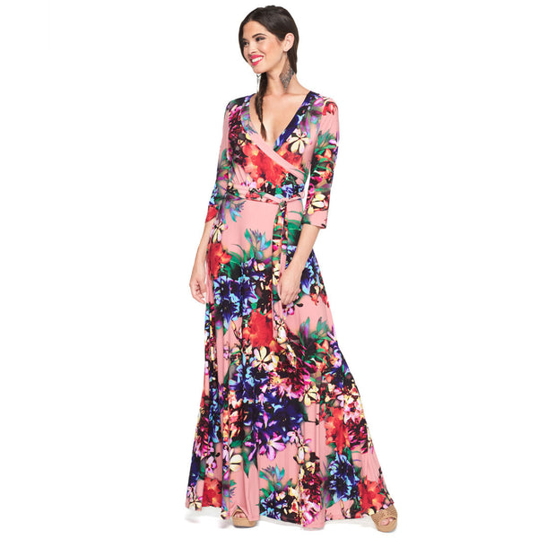 Vacation Vibes Floral Faux-Wrap Maxi Dress - Citi Trends Ladies - Front