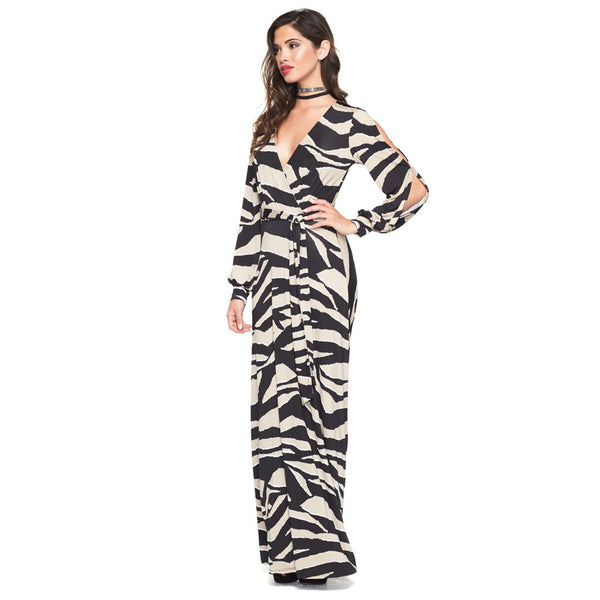 Into The Wild Zebra Faux-Wrap Maxi Dress - Citi Trends Ladies - Front