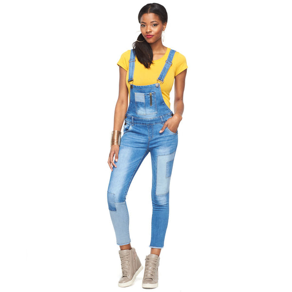 Patch It Your Way Denim Overalls With Frayed Hem - Citi Trends Ladies - Front
