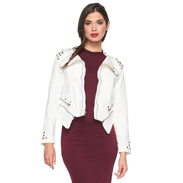 Hot-Rocks White Studded Denim Moto Jacket - Citi Trends Ladies - Front