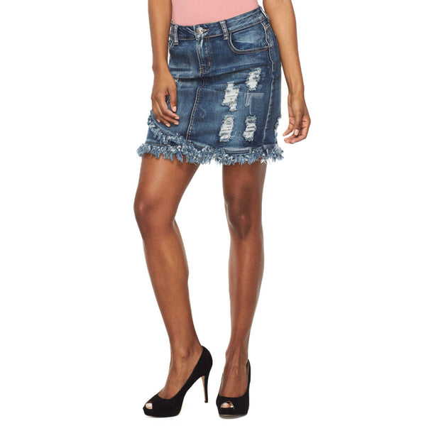 Fray Your Own Way Denim Mini Skirt - Citi Trends Ladies - Front