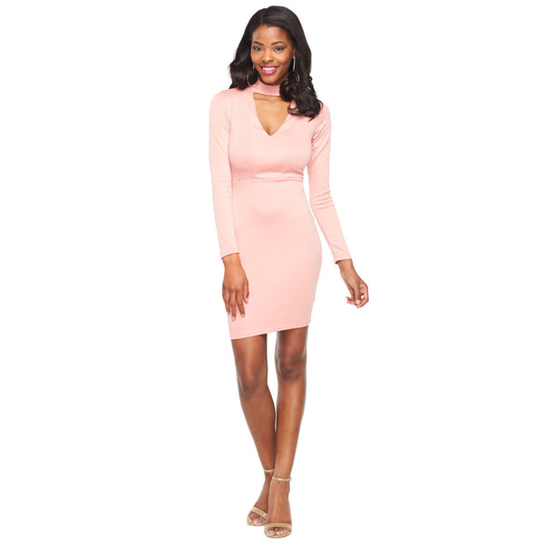 The Sleek Factor Mauve V-Neck Ponte Bodycon Dress - Citi Trends Ladies - Front
