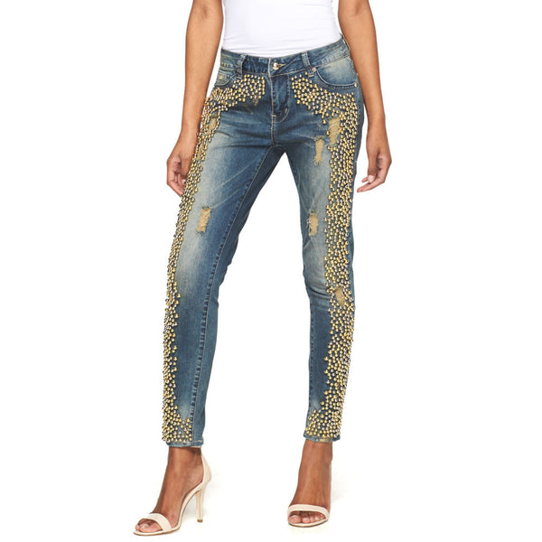 Go For The Gold Beaded Skinny Jean - Citi Trends Juniors - Front