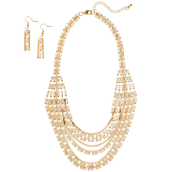 Layered And Luxe Ivory Beaded Necklace And Earring Set - Citi Trends Accessories - Front