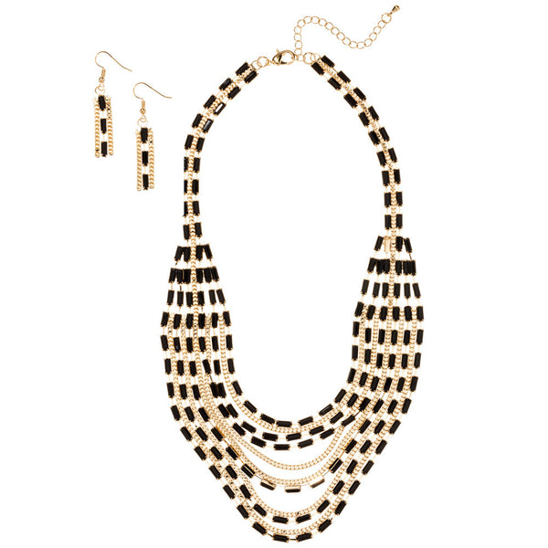 Layered And Luxe Black Beaded Necklace And Earring Set - Citi Trends Accessories - Front