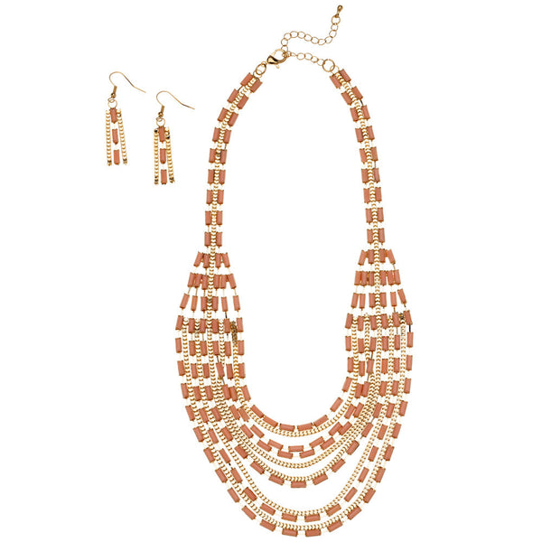 Layered And Luxe Blush Beaded Necklace And Earring Set - Citi Trends Accessories - Front