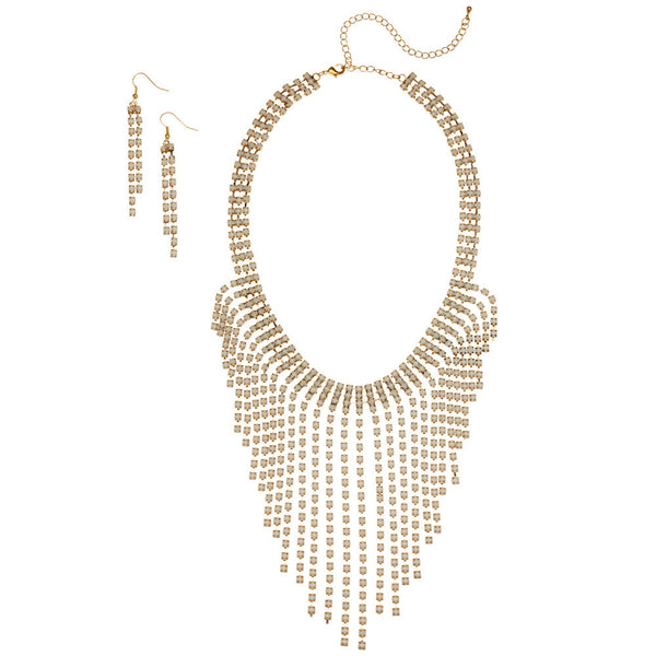 Fine And Fringed Ivory Bib Necklace And Earring Set - Citi Trends Accessories - Front
