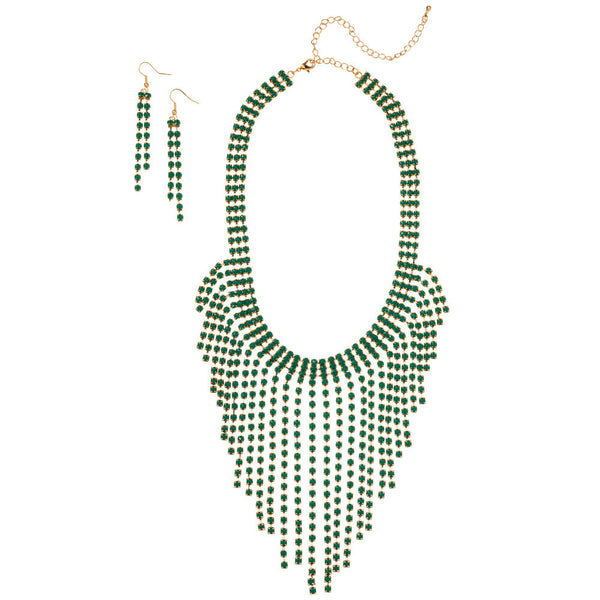 Fine And Fringed Olive Bib Necklace And Earring Set - Citi Trends Accessories - Front