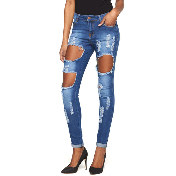 Cuff Call Distressed Skinny Jean - Citi Trends Ladies - Front