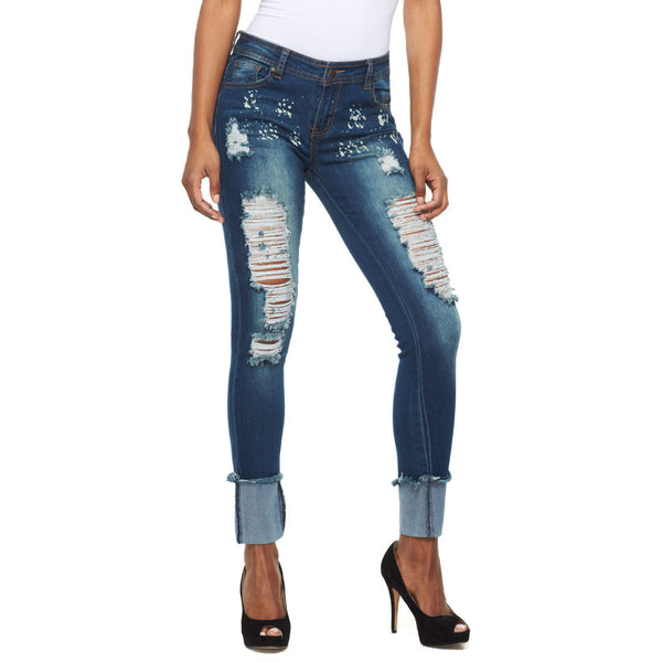 Cuffed To The Max Bleach Splatter Cuffed Jean - Citi Trends Ladies - Front