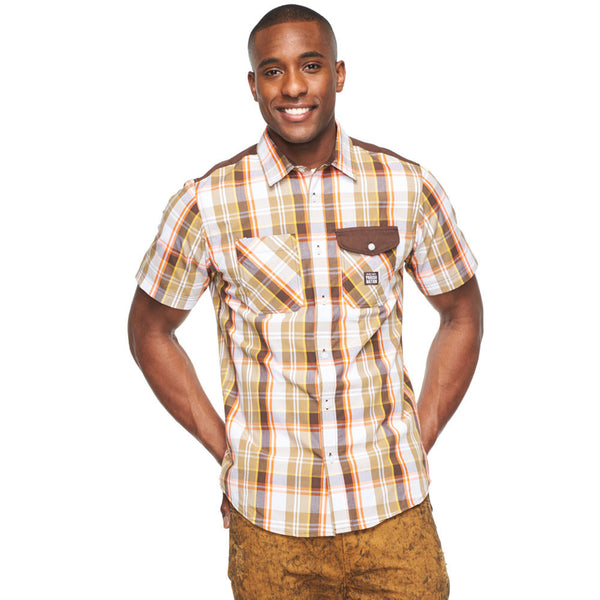 Plaid To Meet You Tan/Brown Button Down - Citi Trends Mens - Front