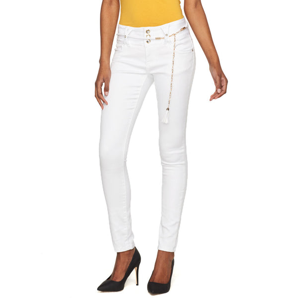 So Fresh And So Sheen White Belted High-Waist Skinny Jean - Citi Trends Ladies - Front