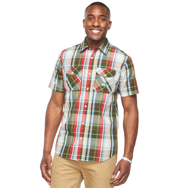 Plaid Reaction Olive Button-Down - Citi Trends Mens - Front