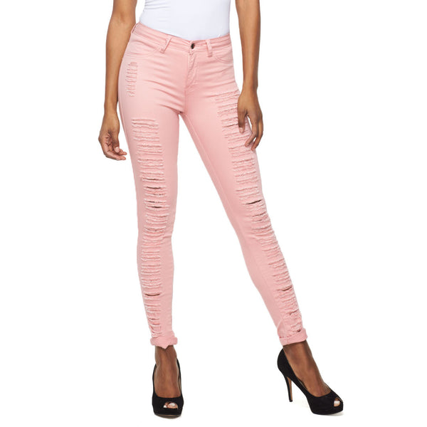 Tearing Is Caring Mauve Slit Front Skinny Jean - Citi Trends Ladies - Front