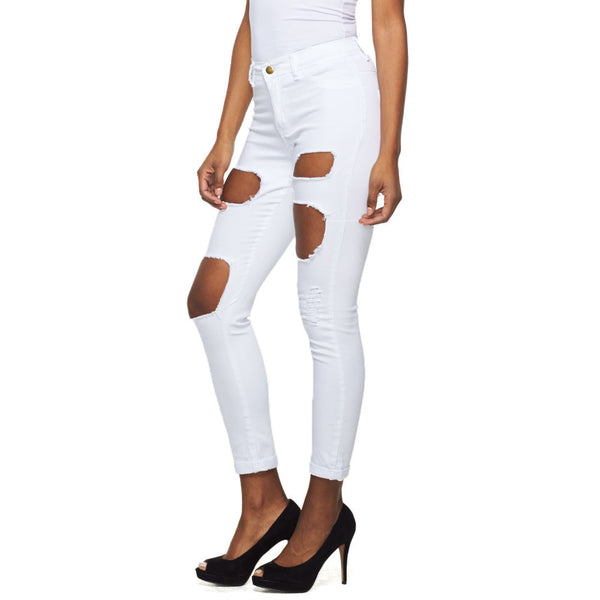 Hole In One! White Mid-Rise Destroyed Skinny Jean - Citi Trends Ladies - Front
