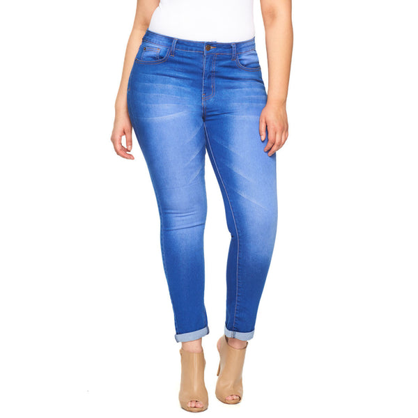 Style Staple Blue Cuffed Skinny Jean - Citi Trends Plus - Front