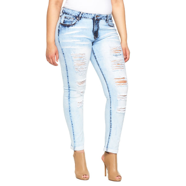 Marble Moves Cuffed Distressed Skinny Jean - Citi Trends Plus - Front