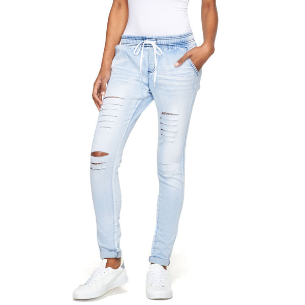 Tear It Up Light Blue Cuffed Skinny Jean - Cititrends Ladies and Plus - Front
