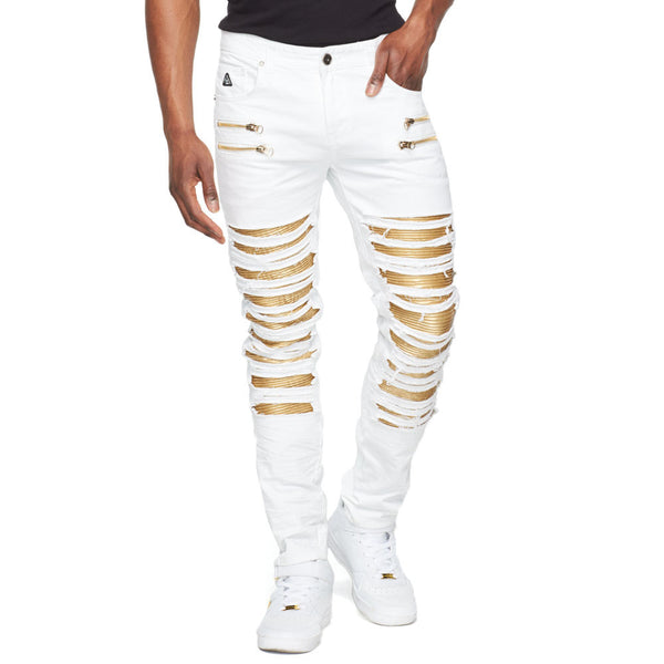 Zip-Tastic White Moto Jean With Metallic Gold Inserts - Citi Trends Mens - Front