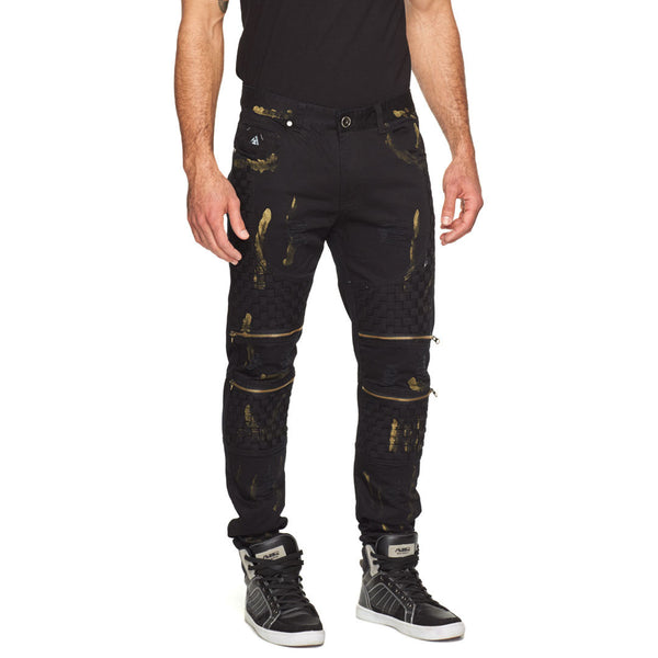 Fit To Weave Black/Gold Distressed Moto Jean - Citi Trends Mens - Front