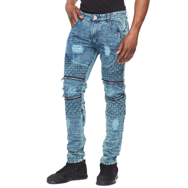 Fit To Weave Light Blue Distressed Moto Jean - Citi Trends Mens - Front