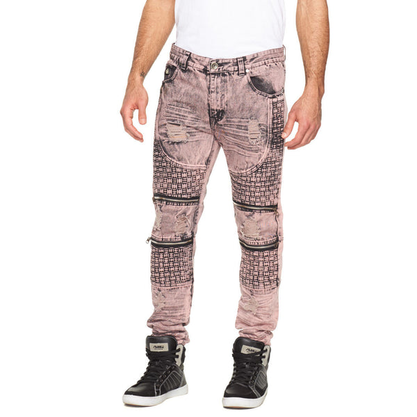 Fit To Weave Pink Distressed Moto Jean - Citi Trends Mens - Front