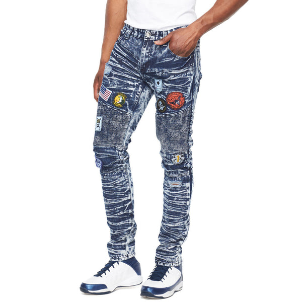Crinkle And Patch Acid Wash Moto Jean - Citi Trends Mens - Front