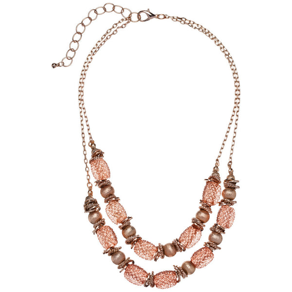Glimmer Goals Rose Gold Layered Necklace - Citi Trends Accessories - Front