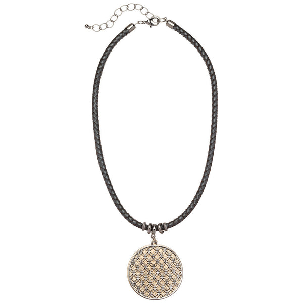 Braided Beauty Faux Leather Pendant Necklace - Citi Trends Accessories - Front