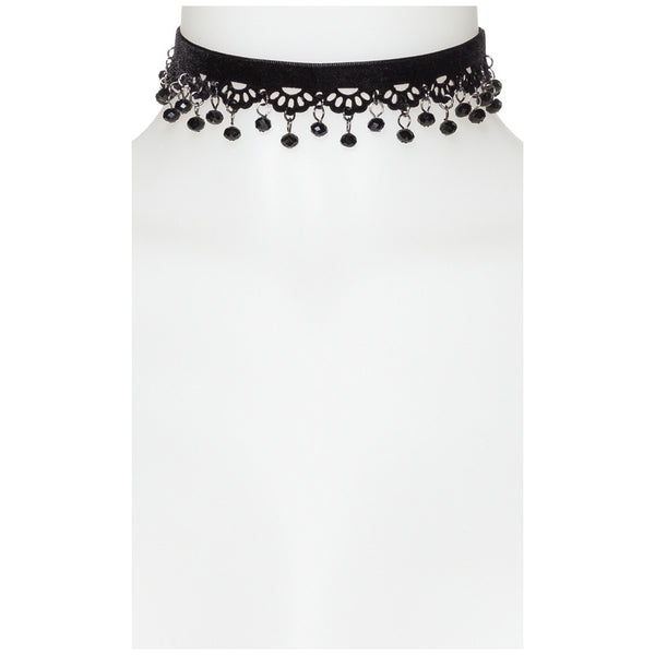 Caught My Eye Black Beaded Velvet Choker - Citi Trends Accessories - Front