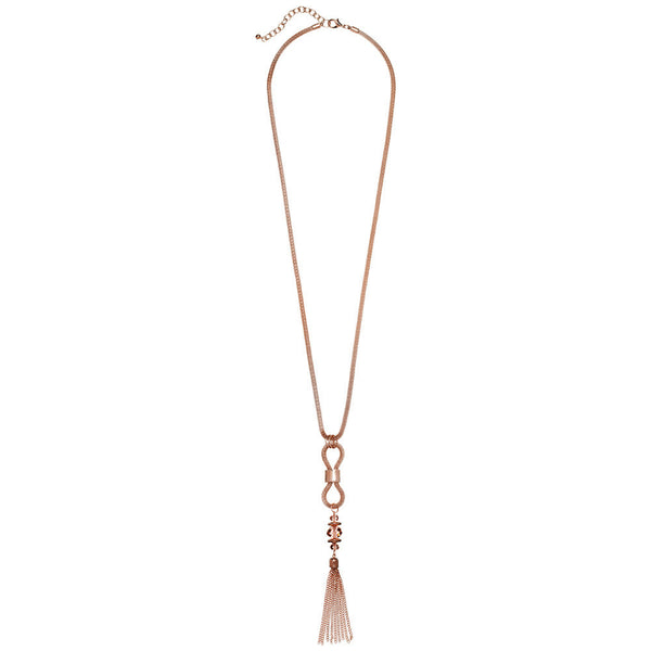 Tassel-Anywhere Rose Gold Pendant Necklace - Citi Trends Accessories - Front