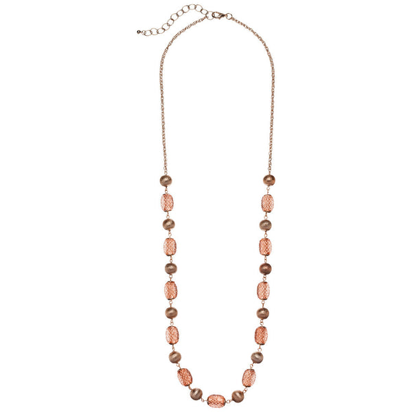 Have A Ball Rose Gold Beaded Necklace - Citi Trends Accessories - Front