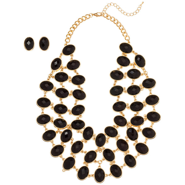 Sparkling State Of Mind Black/Gold Stone Necklace And Earring Set - Citi Trends Accessories - Front