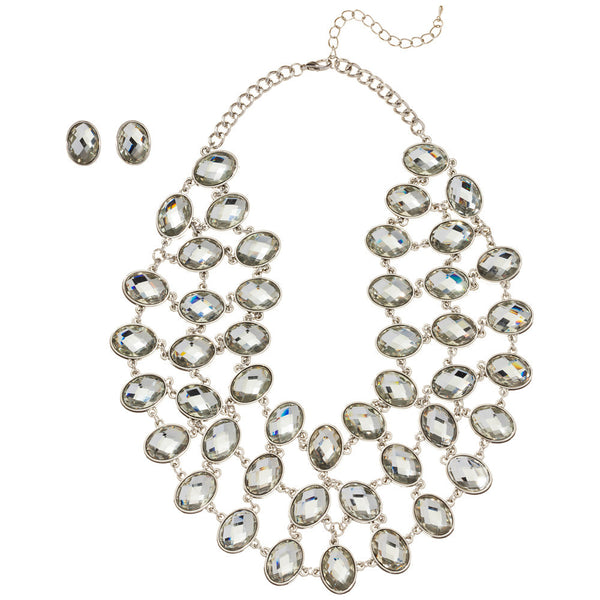 Sparkling State Of Mind Silver Stone Necklace And Earring Set - Citi Trends Accessories - Front